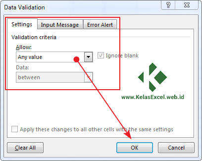 Data Validation Option Box Excel