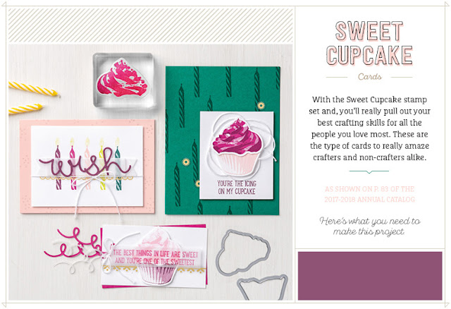 Have a go at creating these wonderful cupcake creations using the Sweet Cupcake stamp set from Stampin' Up! and the supplies listed.