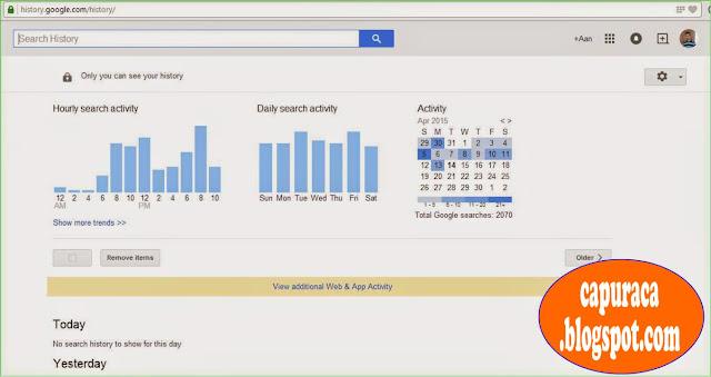 Cara menghapus Google search history