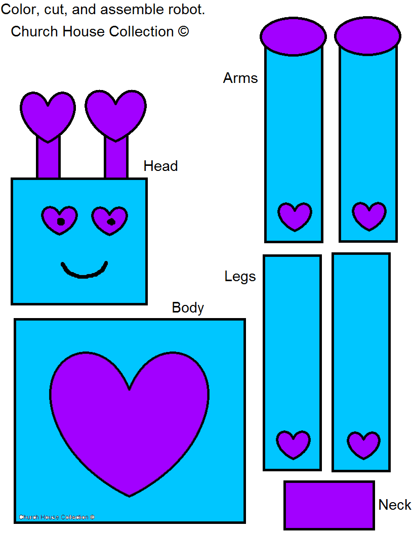 Valentine's Day Robot Craft for Kids Cutout Free Printable