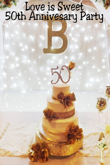 Come celebrate a beautiful 50th anniversary party where Love is Sweet.  See all the details on how we created a yummy candy table, food table, cake table, and dessert table and beautiful decor.