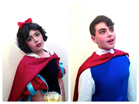 Joven se disfraza de Princesas y Príncipes de Disney