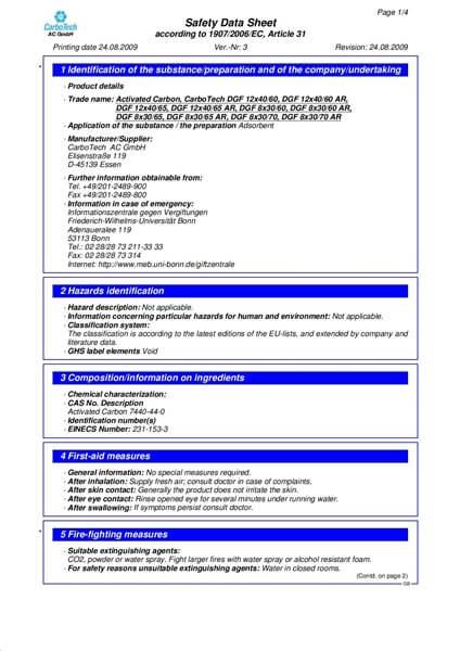 Material Safety Data Sheet (MSDS) Karbon Aktif CarboTech DGF Series