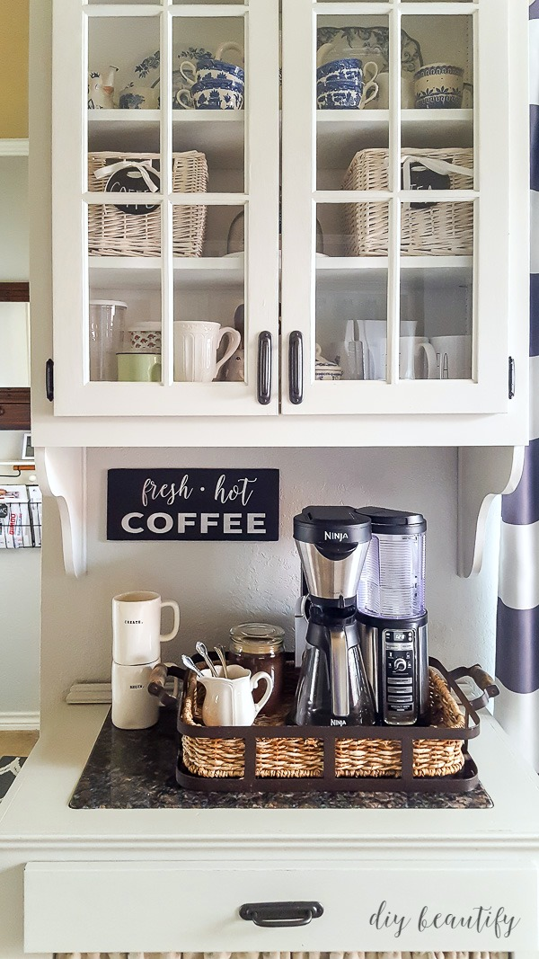 cabinet with coffee bar