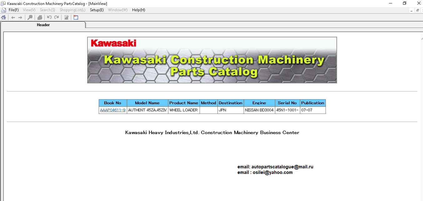 Kawasaki Wheel Loaders Epc Parts Catalog