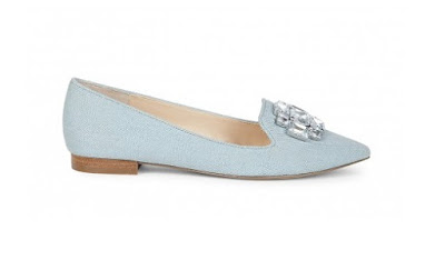 Sole Society light blue bejeweled flat