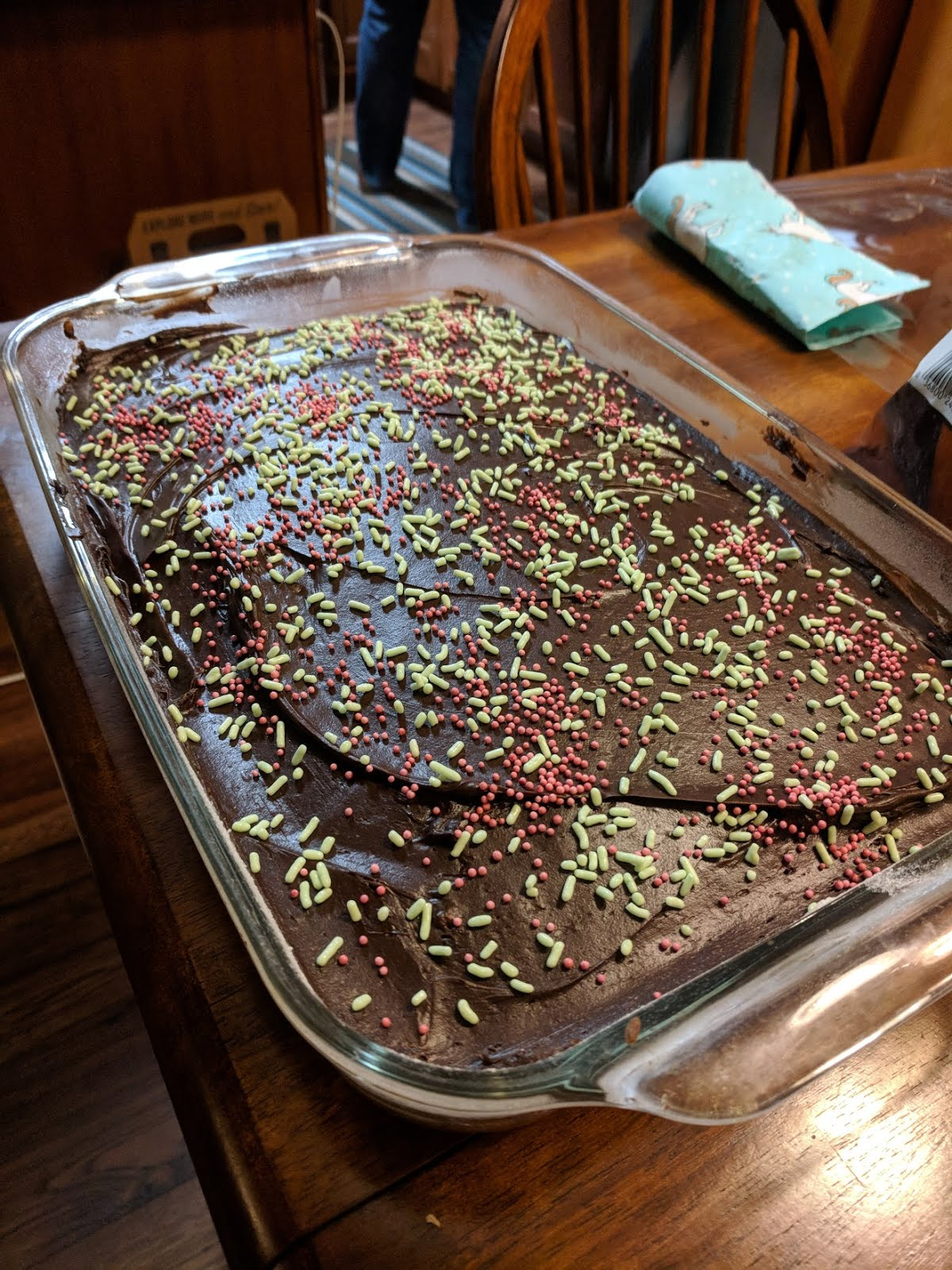 zucchini brownie cake frosting sprinkles jimmies birthday celebration