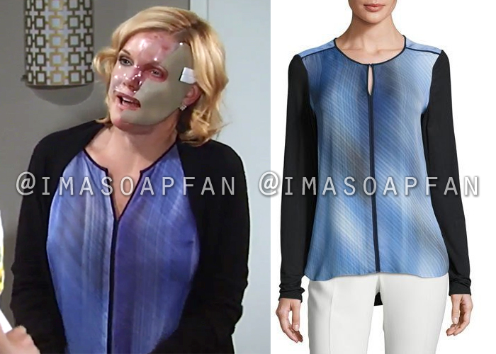 Ava Jerome, Maura West, Blue Printed Silk Blouse with Contrast Piping, General Hospital, GH