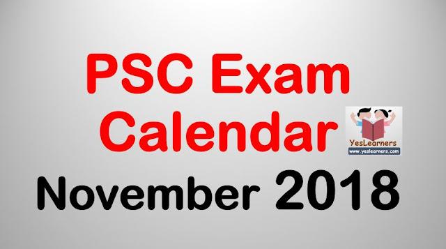 PSC Exam Calendar November 2018