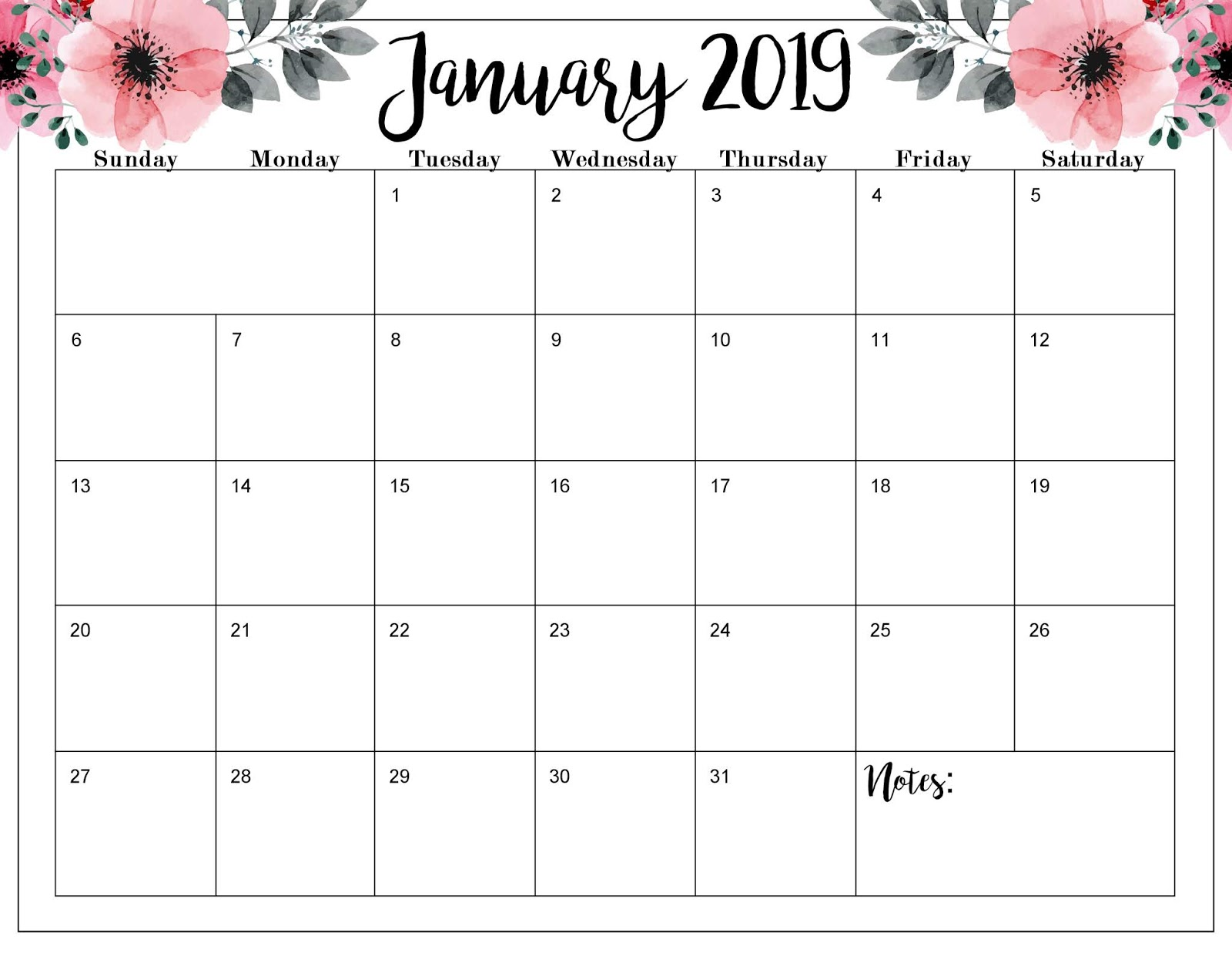 The Cozy Red Cottage Free 2019 Calendar Printable