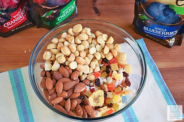Homemade Tropical Trail Mix | by Life Tastes Good loaded with dried fruit, nuts, and dark chocolate is a better-for-you choice when you reach for a snack during the day.