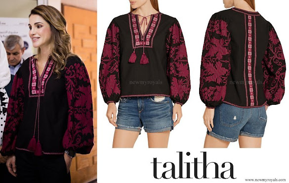 Queen Rania wore TALITHA Salma embroidered blouse