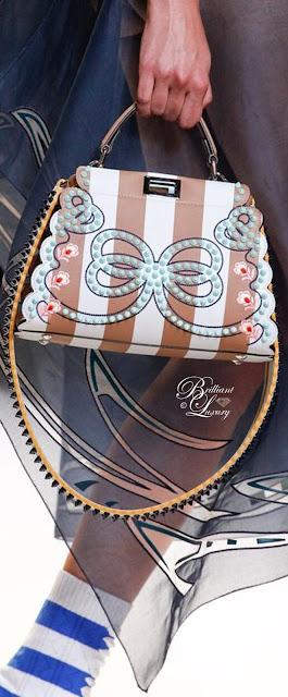 Brilliant Luxury ♦ Fendi Mini Peekaboo Studded Stripe Leather Satchel