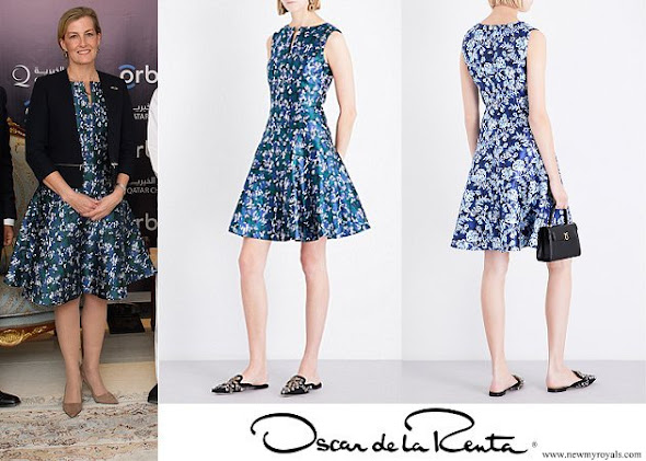 Countess Sophie wore OSCAR DE LA RENTA Graphic floral-print silk-blend mini dress