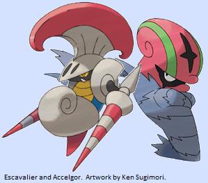 Pok 233 Maniacal Karrablast Escavalier Shelmet And Accelgor