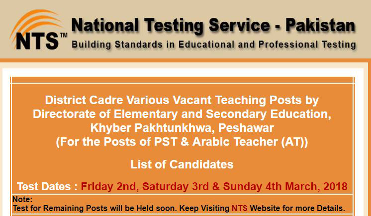 PST,AT, Arabic Teacher NTS Test Schedule