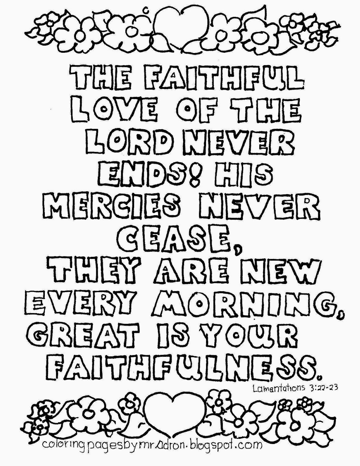 An illustration for Lamentations 3:22-23 to print and color.