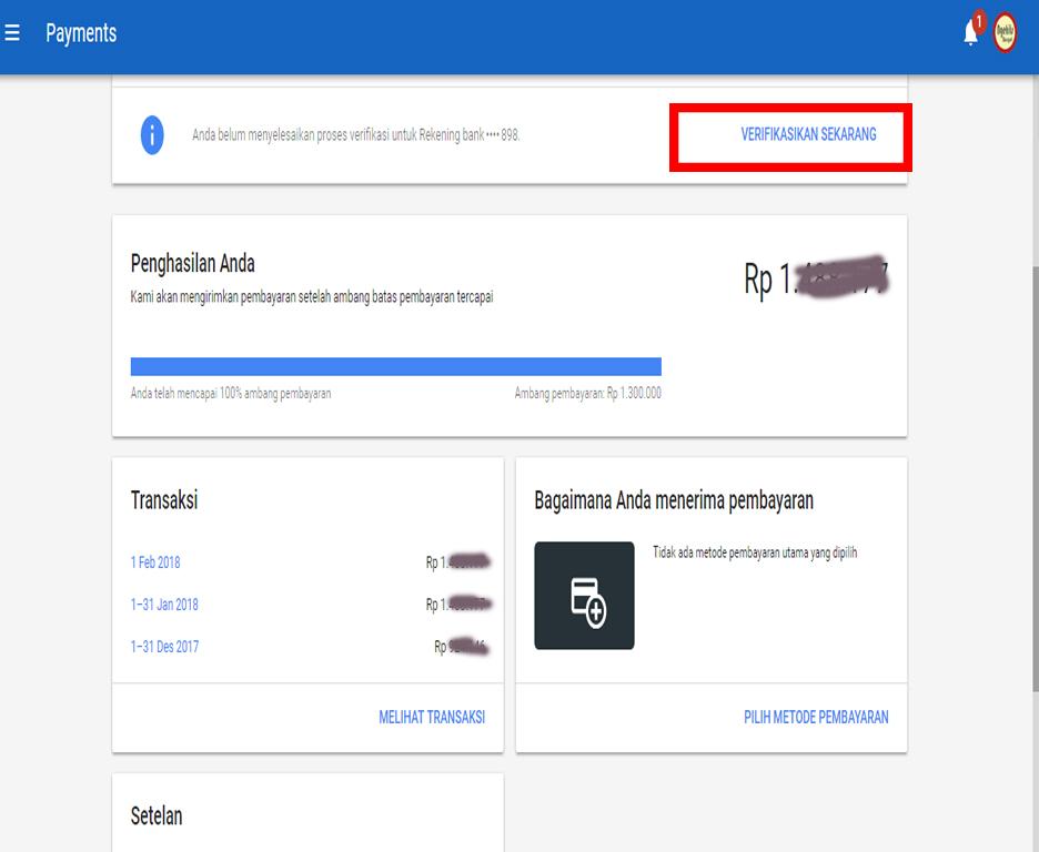 Cara menambah dan verifikasi rekening bank di google adsense