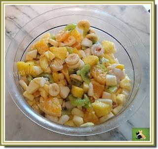 Vie quotidienne de FLaure : Salade sucrée hivernale : ananas, litchi, kiwi, banane, orange, pomme, poire