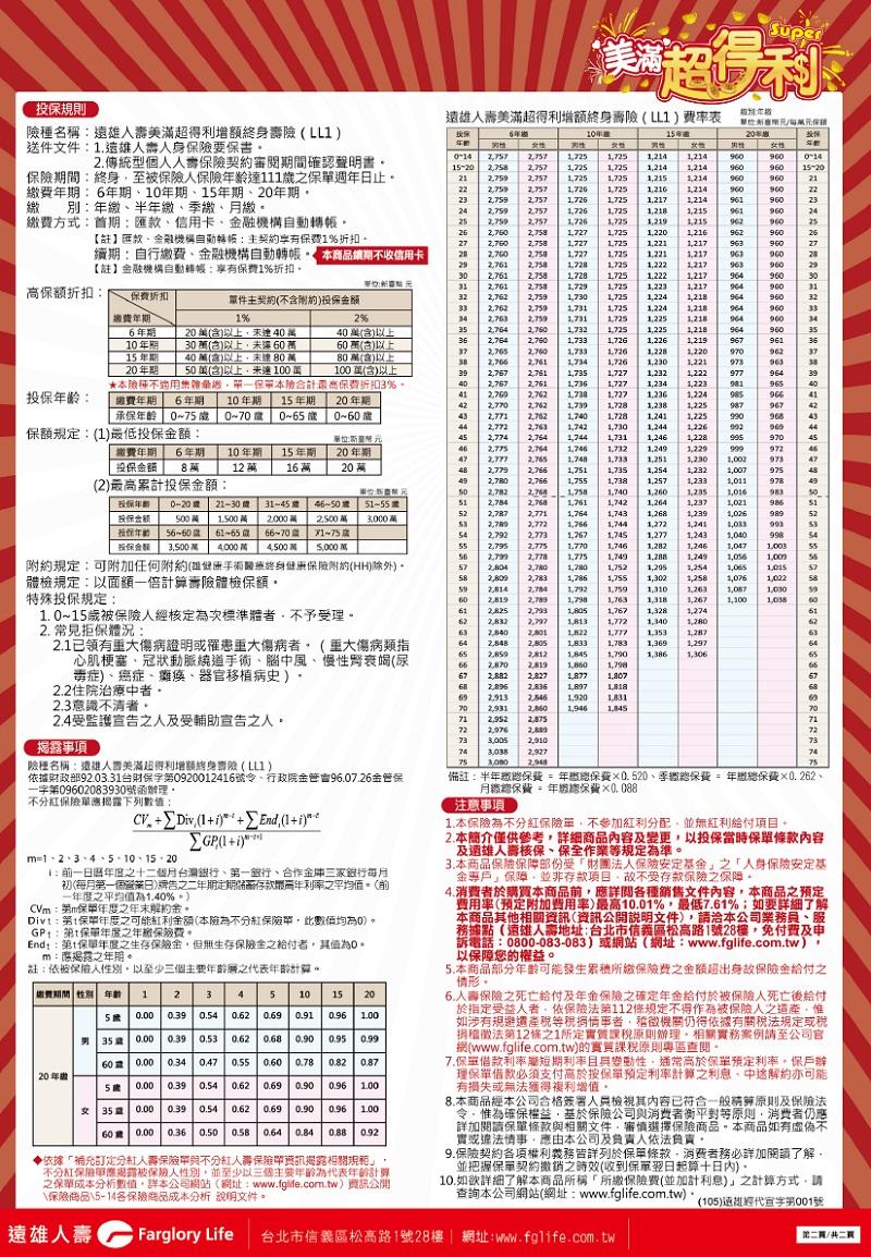 儲蓄險: 遠雄人壽【美滿超得利增額終身壽險LL1】