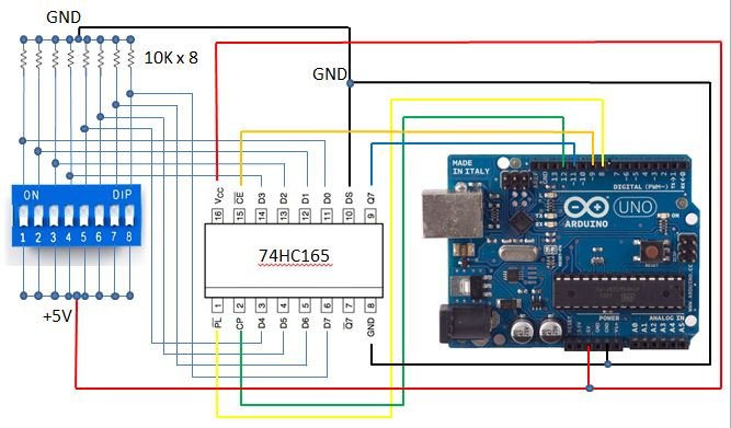 Blog of WeiHsiung Huang: How to use shift register (74HC165)