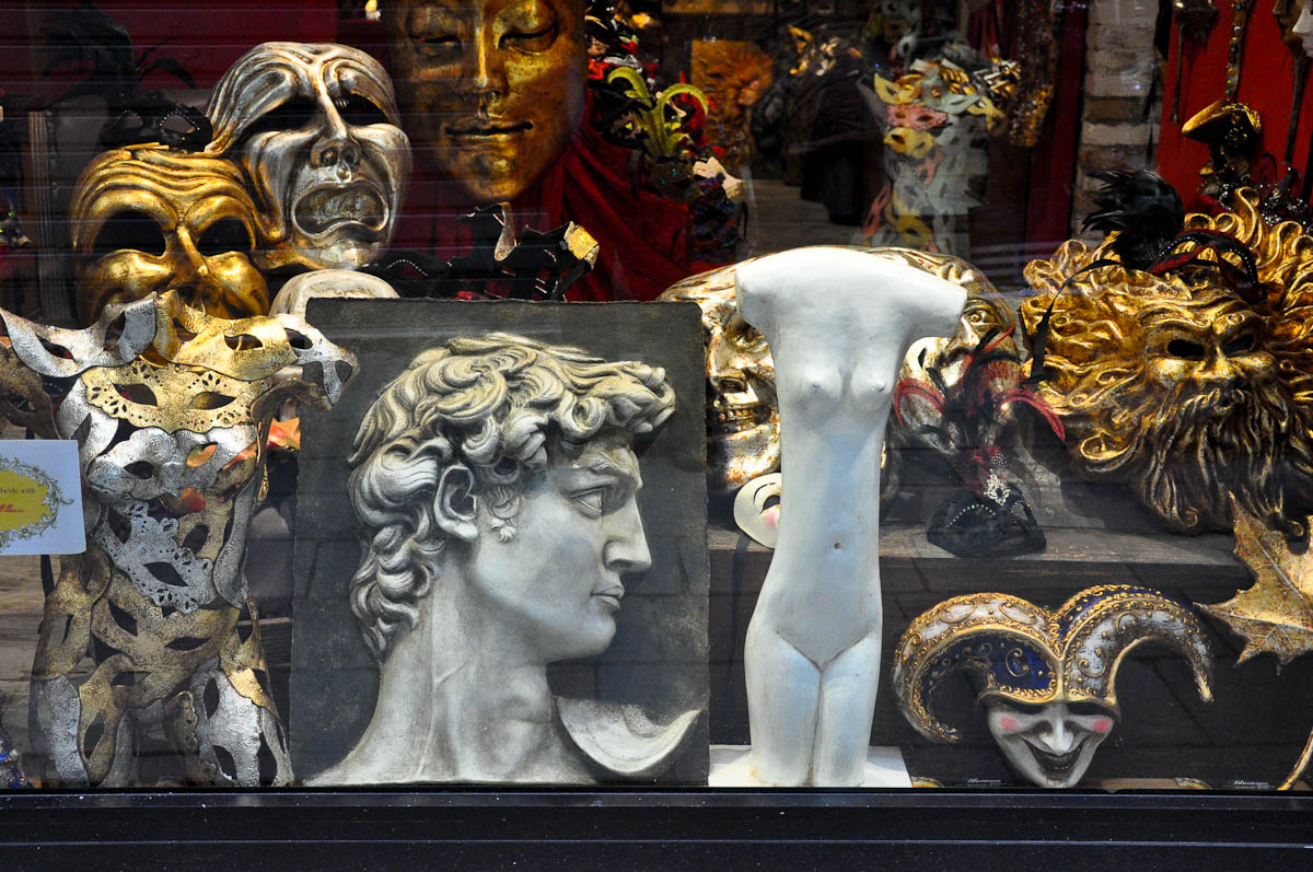 The window display of a mask shop, Rialto Bridge, Venice, Italy