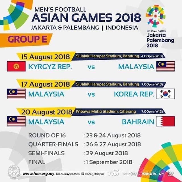 Jadual Bolasepak Malaysia Sukan Asia 2018