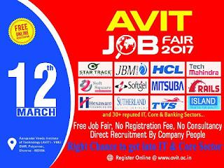 AVIT Mega Off-Campus Job Fair On 12 March 2017: Multiple Companies(Multiple Position)