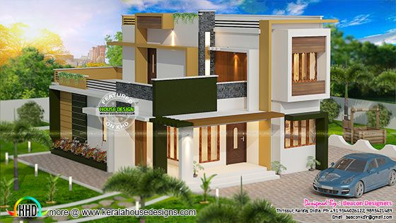 Double floor flat roof home 1714 sq-ft