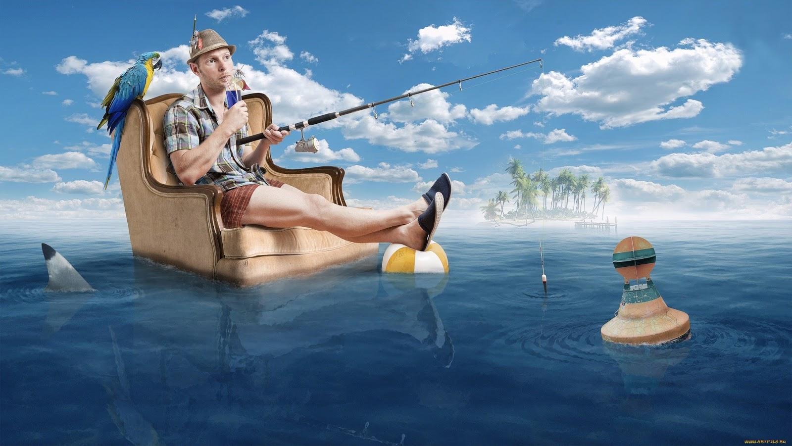 рыбак с ноутбуком