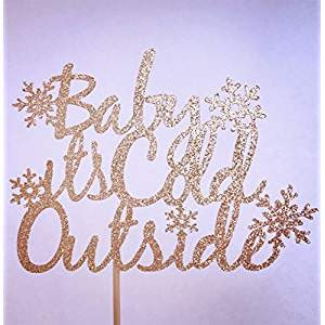 Baby It's Cold Outside Baby Shower Cake Topper #babyitscoldoutside #christmasmusic #learnyourchristmascarols #babyshower #caketopper available on Amazon