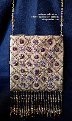Completed bead embroidered silk purse. (Rare Vintage by Liz Vickery, Inspirations, bead embroidered purse)