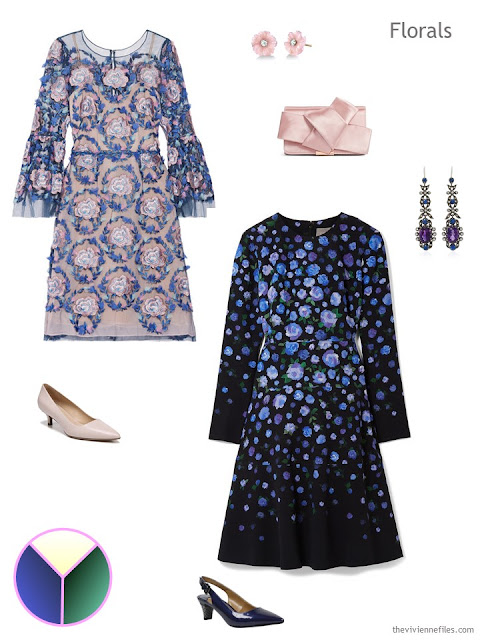 2 floral dresses with accessories