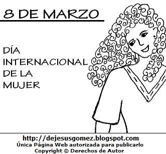 Dibujo del Día Internacional de la Mujer para colorear, pintar e imprimir (Mujer con bella sonrisa). Dibujo hecho por Jesus Gómez