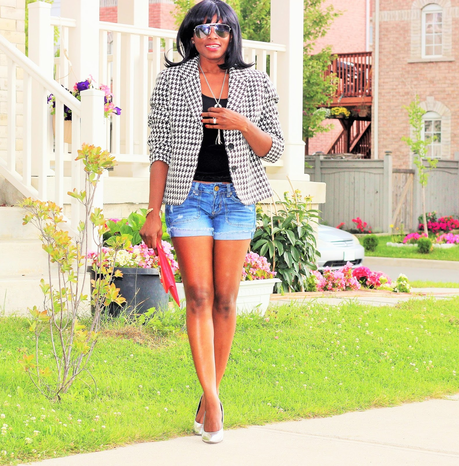Laura Petite Blazer + Denim Shorts