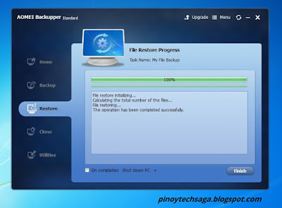 AOMEI Backupper Standard File Restoration step 5