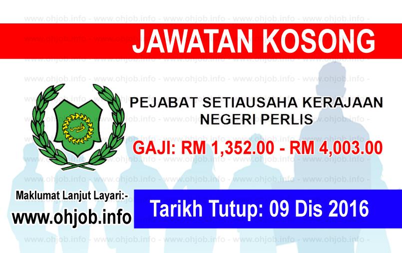 Jawatan Kerja Kosong Pejabat Setiausaha Kerajaan Negeri Perlis logo www.ohjob.info disember 2016