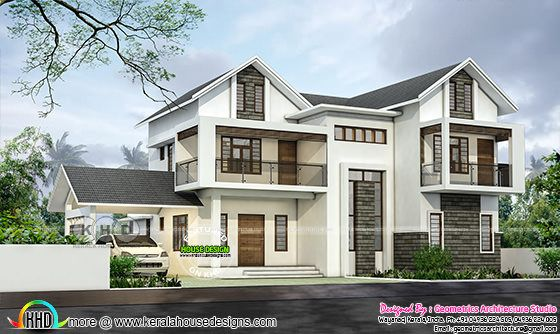 October 2018 house designs starts here - 4 BHK mixed roof house