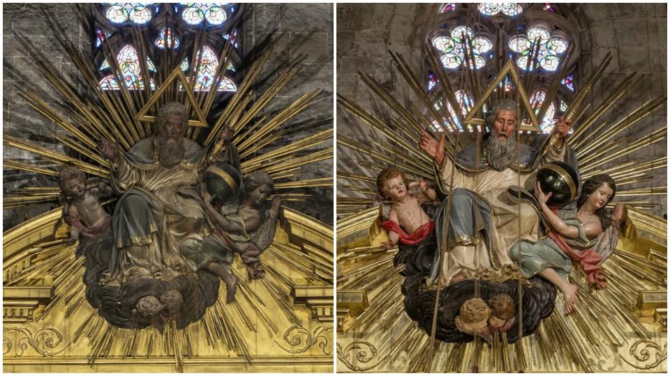 Parte superior del retablo antes y después de la restauración