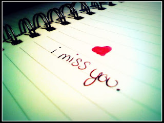 I miss you & red cute heart crafted on paper