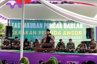 KH. Sofyan Yahya memberikan tausiyah dalam Harlah 85 Ansor Bandung Barat