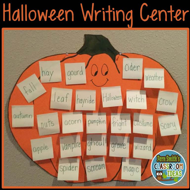 Quick, Easy, and Inexpensive Seasonal Writing Centers. Free Fall Writing Centers and Free Halloween Writing Centers. #FernSmithsClassroomIdeas