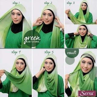 Cara memakai jilbab pashmina wajah bulat sederhana