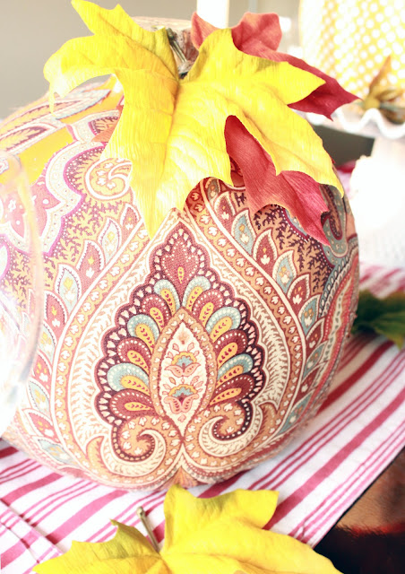 brown Paisley fabric design on pumpkin