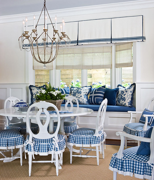 Blue Dining Room Decoration: Lisa Mende Design: Instant Slipcovers By Chair Aprons
