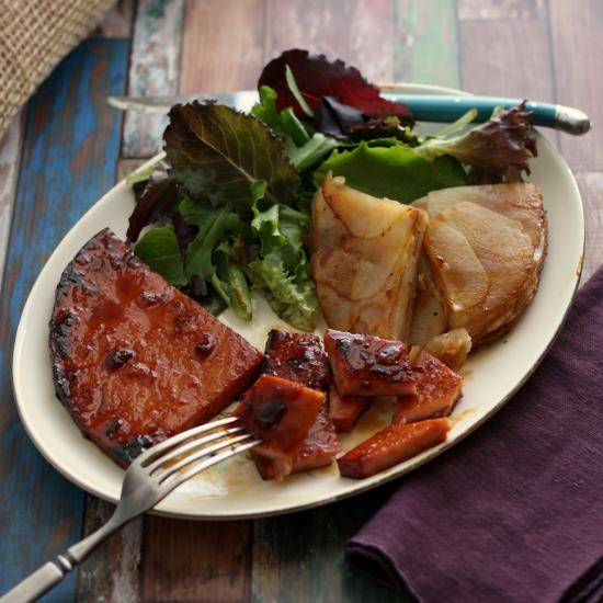 Peach, Maple, and Bourbon-Glazed Ham Steaks