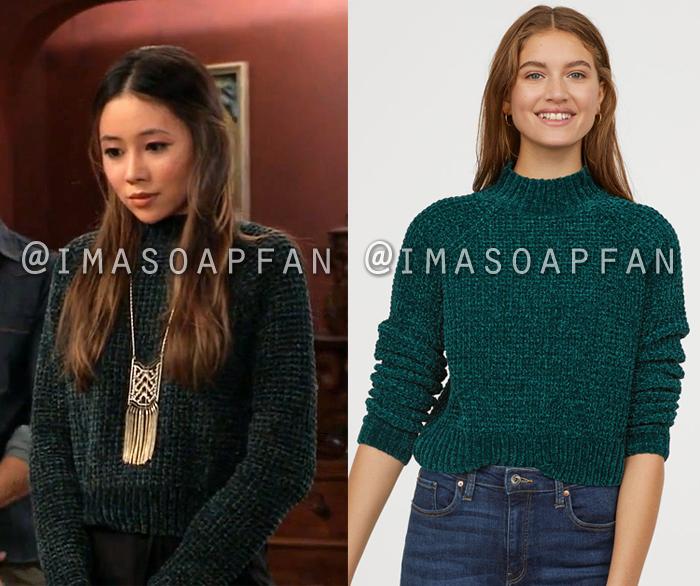 Daisy Kwan, Kelsey Wang, Dark Green Chenille Mockneck Sweater, General Hospital, GH