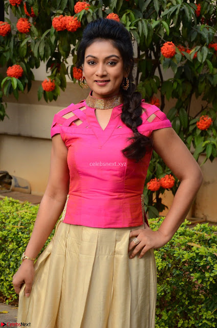 Ashmita in Pink Top At Om Namo Venkatesaya Press MeetAt Om Namo Venkatesaya Press Meet (3).JPG