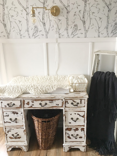 old desk for changing table