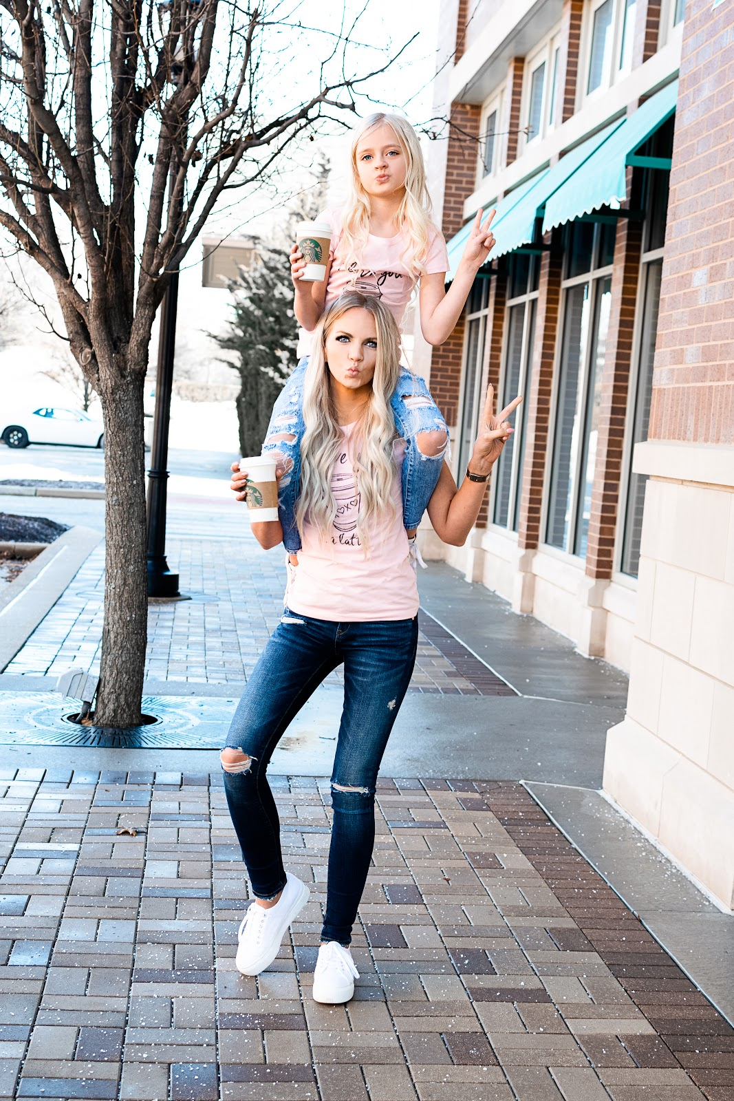 What to Wear this Valentine's Day - No Matter What Your Plans Are! Valentine's Day Outfit Idea Little Girl Casual Tee Mom Work Wear Sneakers Romper Jumper Going Out